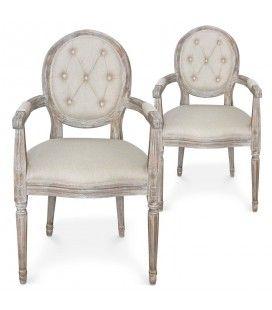 Lot de 2 chaises médaillon Louis XVI en tissu beige