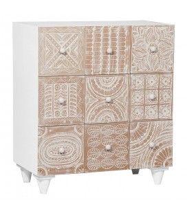 Commode en bois vintage à 9 tiroirs sculptés