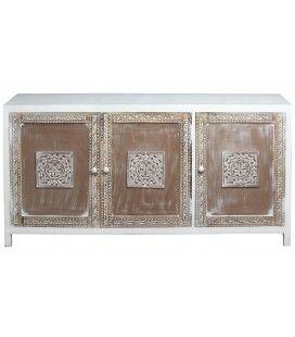 Buffet bas 3 portes en bois sculpté blanc et marron