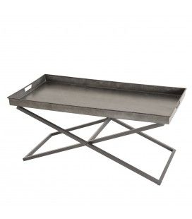 Table basse en zinc avec pieds croisés en métal