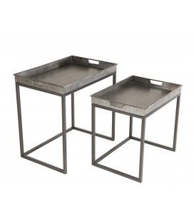 Lot de 2 tables d'appoint rectangulaires en métal HELENE