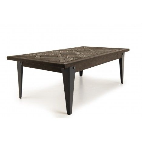 Table basse 120x65cm plateau Sapin marqueté pieds métal