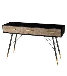 Console 3 tiroirs caisson noir et bois motifs losange Olivia
