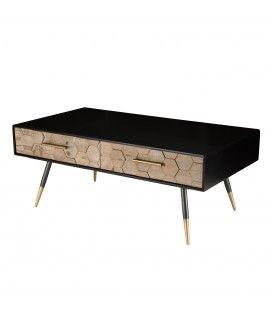 Table basse caisson noir 2 tiroirs bois motifs losange Olivia