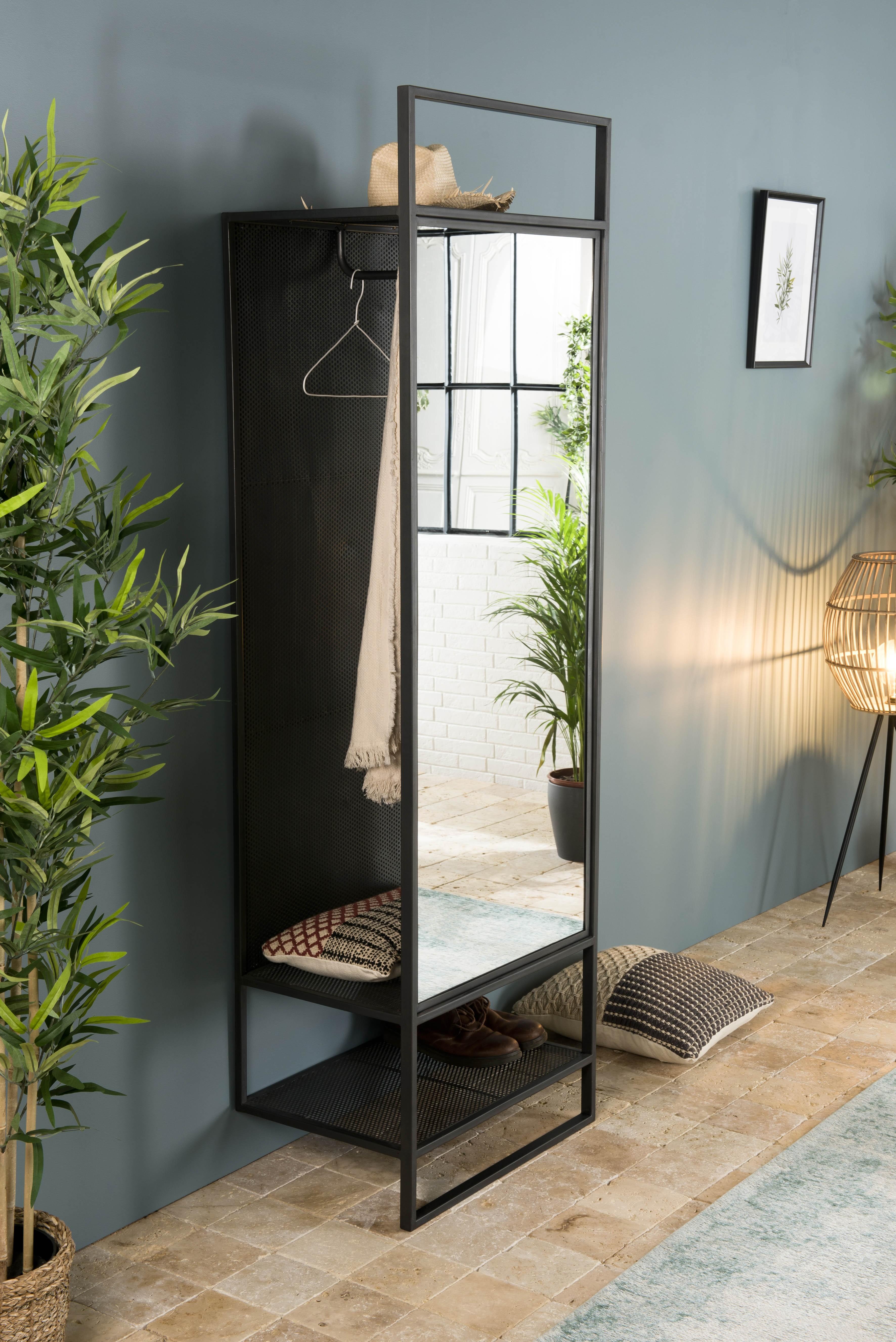 Grand Miroir D Entrée meuble d'entrée porte-manteau avec rangements et grand