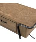 Console 2 tiroirs plateau Sapin marqueté pieds métal