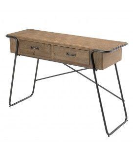 Console à 2 tiroirs et plateau en bois de sapin rayé HELENE