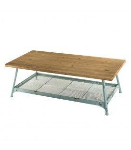 Table basse scandi plateau Sapin 1 étagère et pieds métal bleu