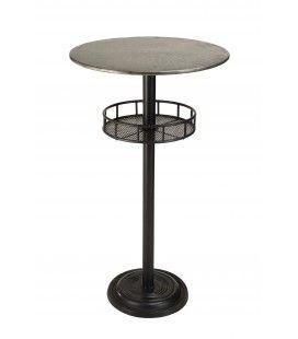 Table de bar ronde avec plateau en Zinc + 1 étagère HELENE
