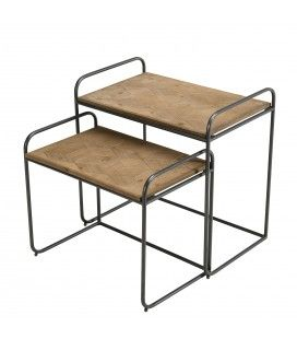 Set de 2 tables d'appoint rectangulaires en bois de Sapin HELENE