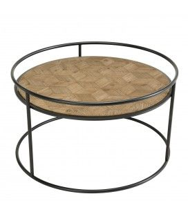 Table basse ronde en bois de Sapin rayé et métal HELENE