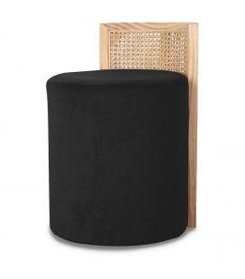 Tabouret pouf en velours noir HANOI -