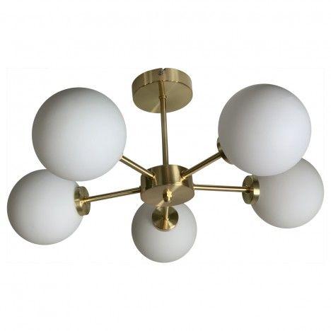 Suspension dorée ronde cing globes Edmond -