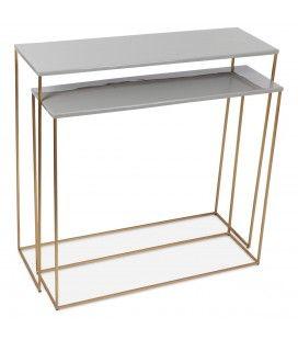 Set de 2 consoles en métal doré grises -