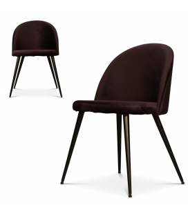 Chaise velours violet profond noire Ingrid - Lot de 2
