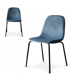 Chaise Felix pieds noirs velours bleu glacier - Lot de 2