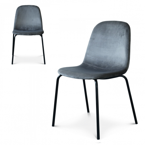 Chaise Felix pieds noirs velours gris anthracite - Lot de 2 -