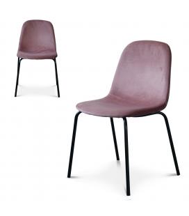 Chaise Felix pieds noirs velours rose - Lot de 2
