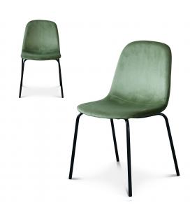Chaise Felix pieds noirs velours vert olive - Lot de 2