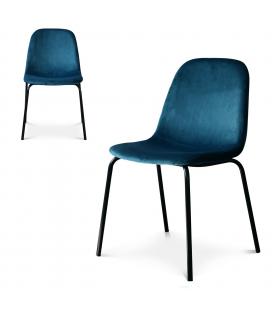Chaise Felix pieds noirs velours bleu saxo - Lot de 2