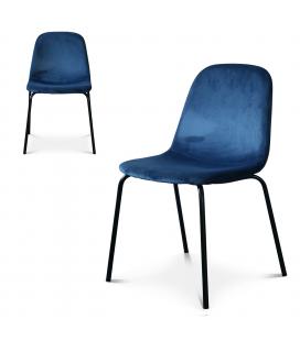 Chaise Felix pieds noirs velours bleu cobalt - Lot de 2