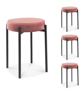 Tabouret Jack velours rose - Lot de 4 -