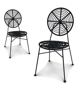 Chaise ronde Jasper façon rotin noir - Lot de 2
