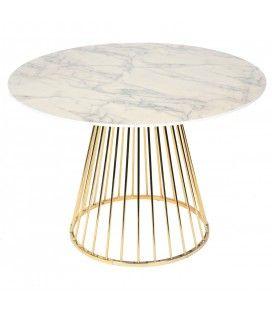 Table à manger ronde bois décor marbre et pieds dorés