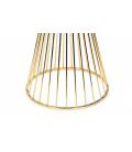 Table à manger en bois blanc et pied doré en métal