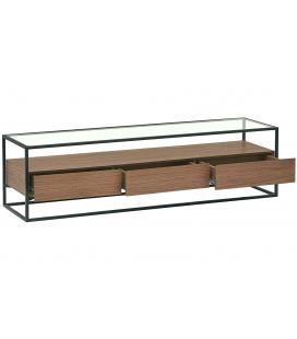 Meuble TV en verre et métal + 3 tiroirs bois noyer 150cm Ravy
