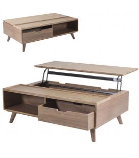 Table basse coffre bois avec plateau relevable + tiroir Ferdina