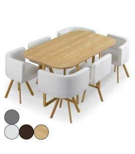Table et chaises encastrables scandinaves Osly