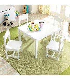 Ensemble blanc table 4 chaises pour enfant -
