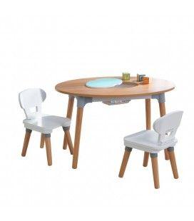 Table enfant avec rangement intégré et 2 chaises bois et blanc -