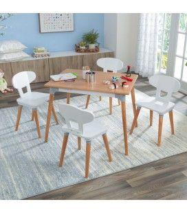 Ensemble table et 4 chaises pour enfant bois et blanc -