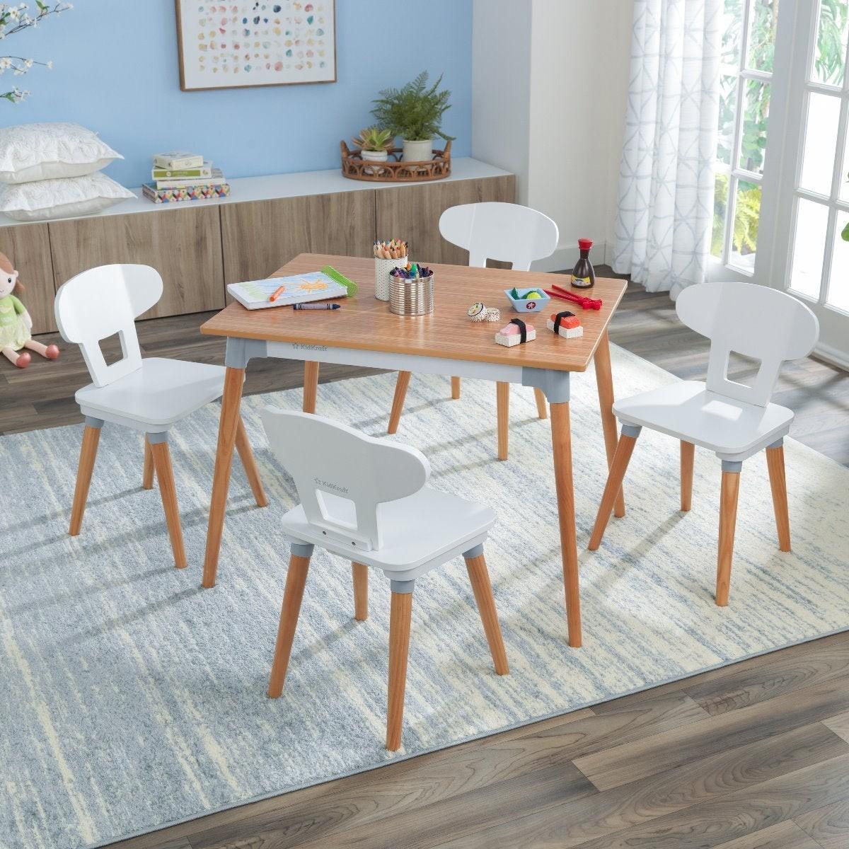 Ensemble table et 6 chaises pour enfant bois et blanc - Decome Store