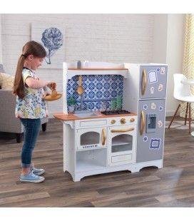Cuisine pour enfants grise avec frigo magnetique et aimants