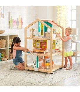 Maison de poupée en bois ouverte 3 étages sur roulettes -