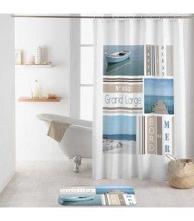 Rideau douche Crochets 180 x 200 cm Royan bord de mer -