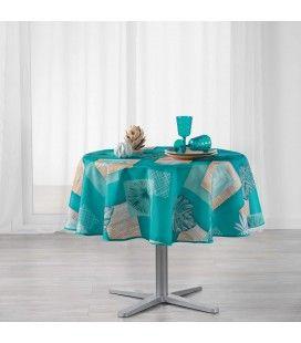Nappe ronde Palmier bleu diamètre 180 cm Polyester -