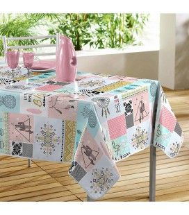 Nappe toile cirée rectangle 140 x 240 cm Optima cactus ananas et flamands roses -