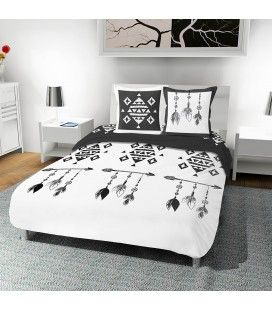 Housse de couette blanche motifs noirs 220 x 240 cm -