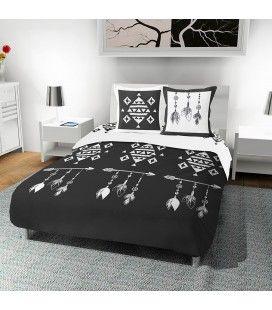 Housse de couette noire motifs blancs 220 x 240 cm -
