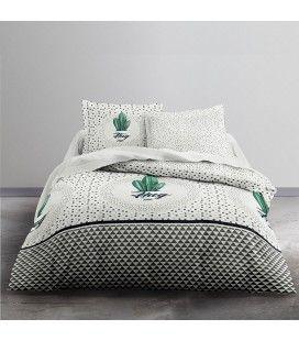Housse de couette Cactus 240 x 220 cm + taie 100% coton 57 fils -