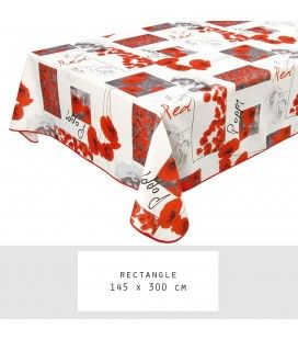 Nappe anti-tache rectangle 145 x 300 cm Poppy -