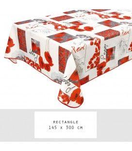 Nappe anti-tache rectangle 145 x 300 cm Poppy -