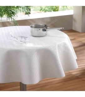 Nappe Protège table ronde diamètre 135 cm Blanc -