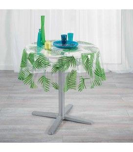 Nappe Cristal ronde diamètre 140 cm Transparente Amazonie feuilles de palmier -