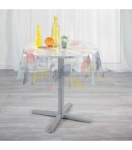 Nappe Cristal ronde diamètre 140 cm Transparente Hello ananas -