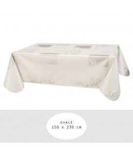 Nappe toile cirée ovale 150 x 230 cm Vera Blanc -